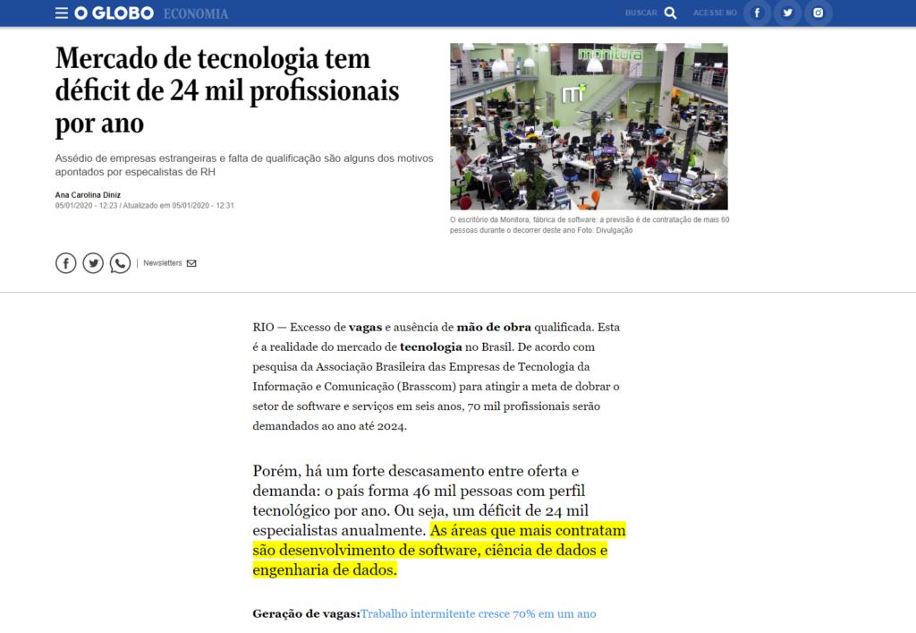 Mercado de tecnologia tem déficit de 24 mil profissionais por ano